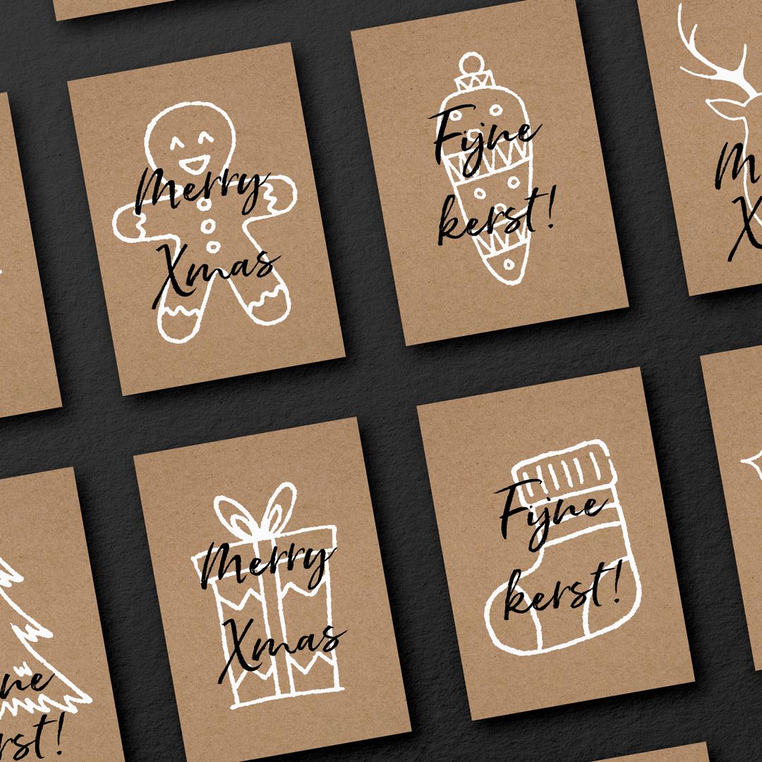 Kerstkaarten Pakket | Kraft